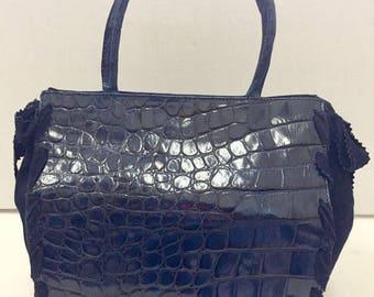 """Blue crocodile print leather bag Hand bag signed """"Elda Verney"""""""
