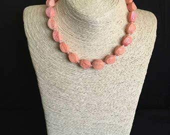 Pink Rose and Pearl Sterling Silver Necklace