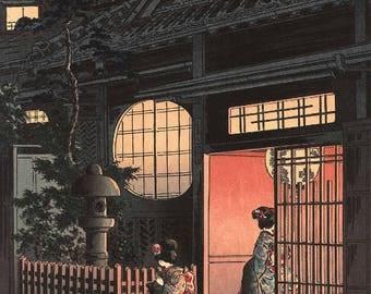 "Japanese Art Print ""Teahouse at Night (otsuya Araki Yokocho)"" by Tsuchiya Koitsu, woodblock print reproduction, asian art, cultural art"