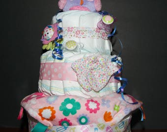 Owl Diaper Cake for Girl