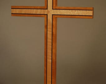 Wooden Pedestal Cross with Inlay