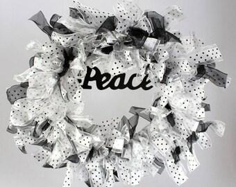 16 inch Black & White Peace Wreath