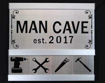 Man Cave Tool Themed Aluminum Framed Sign