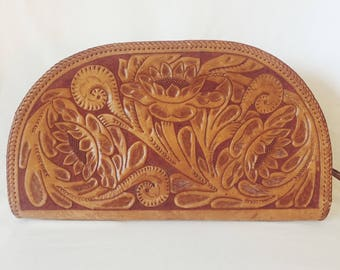 Vintage Large Etched Leather Clutch