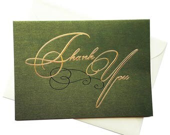Gold Foil Thank you Card set- green and gold, Set of 10, Cards + cream Envelopes, for Weddings thank you notes and special occasions
