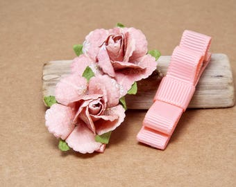 Pink Baby Hair Clips, Pink Toddler Hair Bows, Infant Hair Bows, Girls Hair Bows, Hair Clip Set, Flower Hair Clips, Roses, Alligator Clips