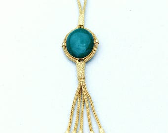 Handmade & Handwoven Necklace with Charming Emerald Stone - Pure Silver (Immersed in Gold)