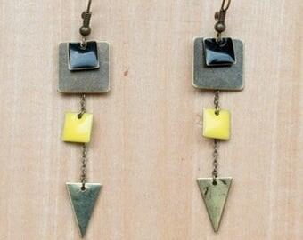 Earrings Triple square