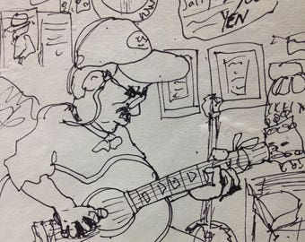 Man Playing Guitar - Iizuka, Japan/ Father's Day Gift! Original Illustration - Framed - Free Shipping