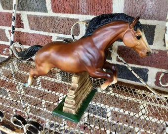 Vintage Breyer Horse Model Jumping Horse #300, 1965-1988, Collectible Animal Figurine, with Jumping Fence