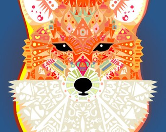 Fox Print Downloadable Printable Art 5x7 inches