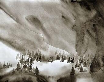 nature painting, minimalist painting, watercolor painting, SvetnikArt