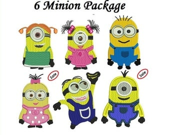 Minions Embroidery Design - 3 sizes Instant download