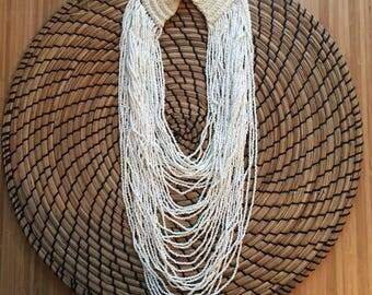 Vintage Beaded Multi Strand Boho Necklace in White