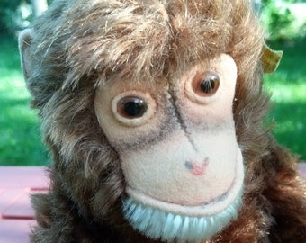 Original Steiff Monkey, 11 Inches Long, 1960s-70s - Ships for Free!