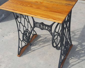 Singer Sewing Table with Reclaimed Barnwood Top