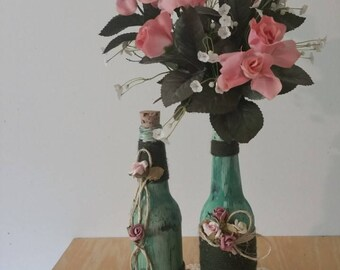 Green acrylic painted bottles/distress bottles