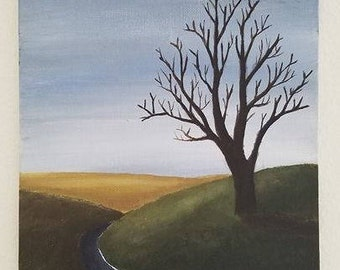 The lonely tree - Acrylic painting.
