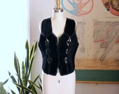 black suede vest with crochet panels . 1980s vintage hippie biker vest by Ying Ying of Nevada AS IS SALE womens vest