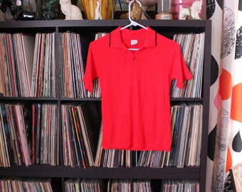 1970s vintage boys polo shirt, bright red pullover by JC Penney . soft acrylic, youth size 16 - READ MEASUREMENTS