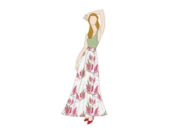 6 Gore Long/Maxi Flared Skirt Sewing Pattern - Sizes 8-22 UK - Download PDF