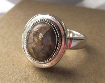 10x8mm Copper-infused Calcite Oval Cabachon Bezel Set Sterling Silver Ring