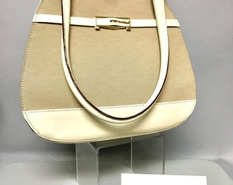 Vintage MAX MARA Designer Purse, Taupe Linen & White Leather Hand Bag w/COA