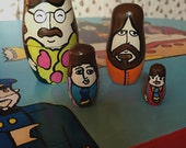 The Beatles Yellow Submarine Russian Nesting Doll Set Hand Painted Fab 4