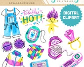 90s Digital Clipart Instant Download Illustration Watercolor Retro Party Teen Pop Culture Tamagotchi Troll Fashion Clip Art Windbreaker