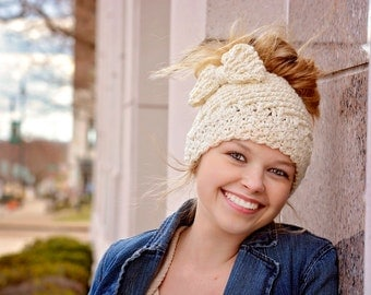Messy Bun Hat With Bow Or Regular Hat- Crocheted Ponytail Hat - Bun Beanie - Katlyn Hat Crochet Garden Design Made To Order Many Colors