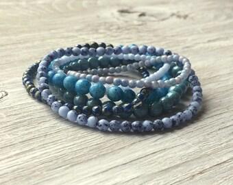 Glass Bead Strands - 6 strands of Czech glass beads Blue and Aqua (ST11)