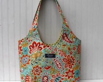 Boho Tote Bag in Ikat Paisley