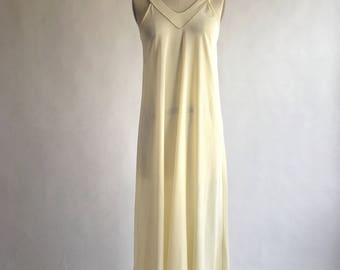 1970s Glam Gold Trimmed Ivory Night Gown by The Fashion Place Sears Roebuck