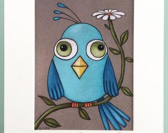 Blue Bird On A Daisy 8 X 10 Custom Matted Print