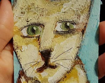 Cat, ACEO, Original Painting, Art Card, Landscape Painting, Small Art,  Winjimir, Home Decor, Office Art, Gift, Card, Pets, Cat Painting