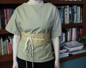 Obi Style wrap belt Burlap with reversible cream cotton and twine ties
