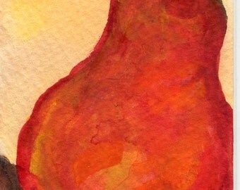 ACEO Original Red Pear  Painting  Art Card