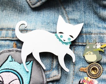 Cat brooch- Pearlescent acrylic laser cut illustration - cats cat lady jewellery jewelry brooch pin badge