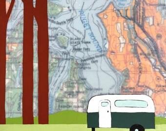 Vashon Island / 7 x 8 Map Painting / Washington Art / Map Art / Modern Decor / NW Art / Camper Art / Camping / Travel Art