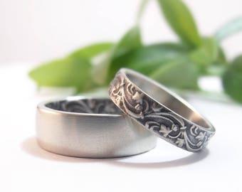 Womens Wedding Band Set Womens Wedding Ring Set Mens Wedding Band Mens Wedding Ring White Gold Wedding Rings Ivy Floral Wedding Bands