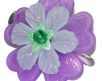 Purple Flower Hair Bauble Clip Beaded, Child, Woman, Girl, Scarf Hat  Hair Ornament 1.5 inch Alligator Clip