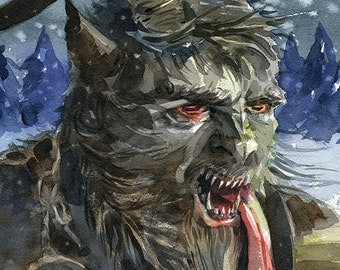Krampus illustration print in multiple sizes, watercolor, as seen in Faerie Magazine