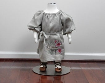 Last one...Toddler Girls Bohemian Inspired Linen Embroidered Japanese Design Dress with Sash  12 months baby girl dress, peasant dress