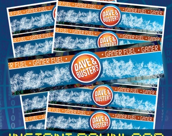 Instant Download - Dave and Busters Themed Water Bottle Labels (2in x 8.25in Labels)