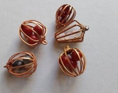 Vintage copper cage charms with mixed beads