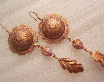 Earrings - Fun Lilac and Gold Dangles with a Bohemian Flare