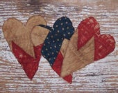 3 Primitive Hearts, Rustic Ornament Set Farmhouse Decor Antique Quilt Hearts Farmhouse Style Tattered Hearts, Red White Blue - READY TO SHIP