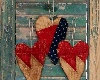 3 Primitive Heart Ornaments, Farmhouse Style Americana Decor, Antique Quilt Country Christmas Decor, Red White & Blue - READY TO SHIP