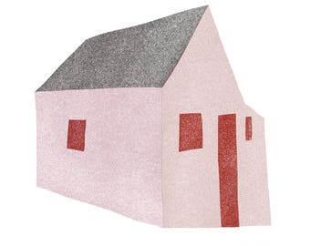 Pink House, Red Windows: Modern Minimalist Art Print