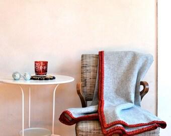 Rustic Wool Throw Blanket Warm Neutral Gray w/ Red & Wine Crocheted Edge Minimalist Home
